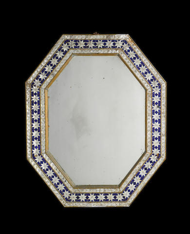 A pair of Indian early 20th century blue glass and mirrored glass framed  mirrors
