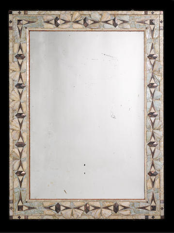 A large mother of pearl mirror