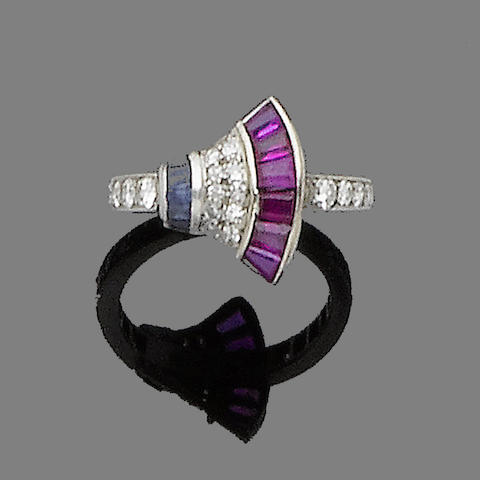 A ruby, sapphire and diamond dress ring,