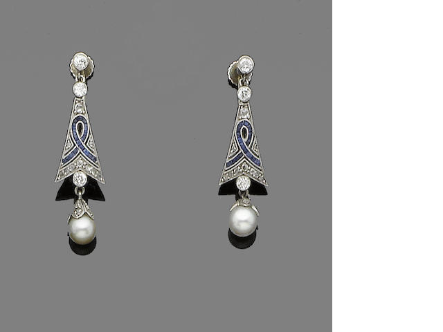 A pair of sapphire, pearl and diamond earrings,