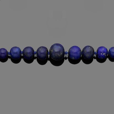 A lapis lazuli, diamond and sapphire necklace
