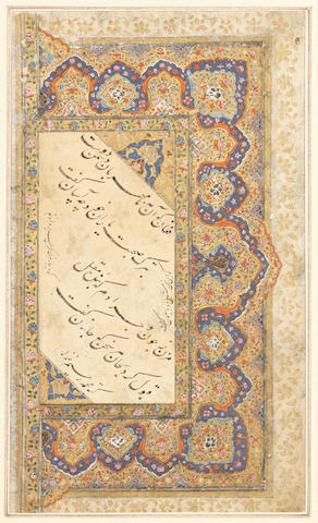 Three couplets from a ghazal of Hafiz in nasta'liq script, copied by Muhammad Rahim possibly India, 17th-18th Century, illumination 19th Century