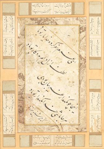 A calligraphic composition in nasta'liq script signed by Muhammad Shafi' (farzand 'Abul-Jabbur) Safavid, 17th Century