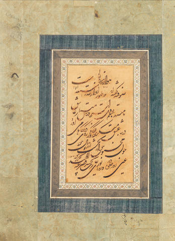A calligraphic composition in shikasteh script signed by Abdul-Majid Dervish (d. AH 1185) dated AH 1177