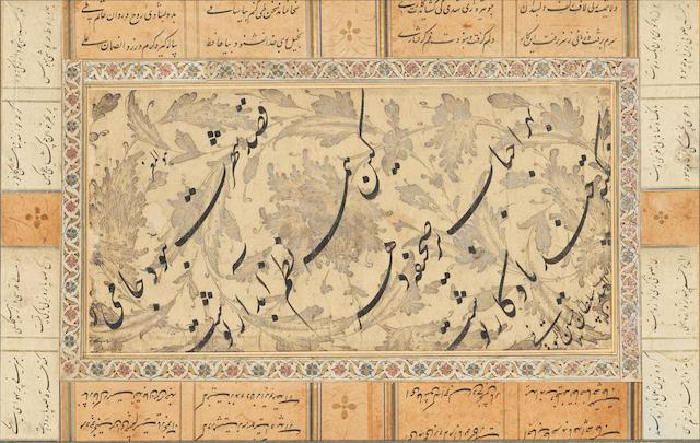 A calligraphic composition in nasta'liq script signed by Sultan Husain al-Tuni 17th Century