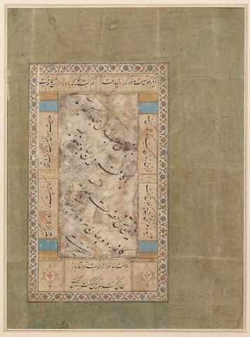 A calligraphic composition in nasta'liq script signed by 'Ali [Mir 'Ali al-Haravi?] 16th Century