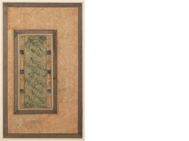 A calligraphic composition in nasta'liq script signed by Malik (Malik al-Daylami) late 16th/17th Century