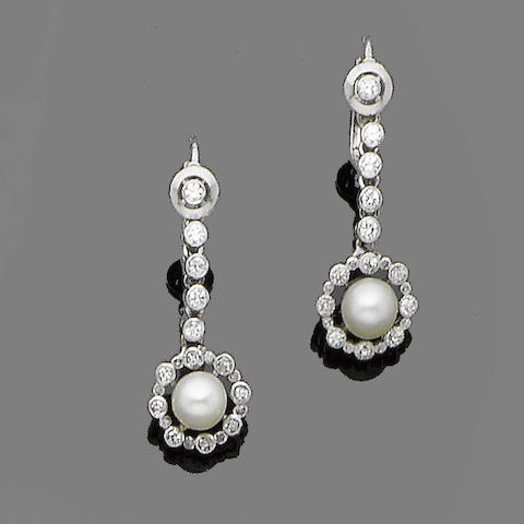 A pair of pearl, cultured pearl and diamond pendent earrings