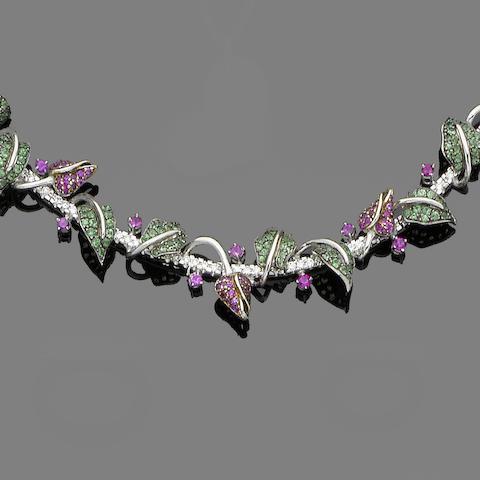 A tsavorite, ruby and diamond collar necklace