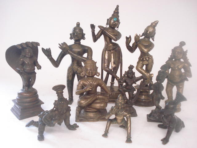 A collection of bronze figures South East Asian