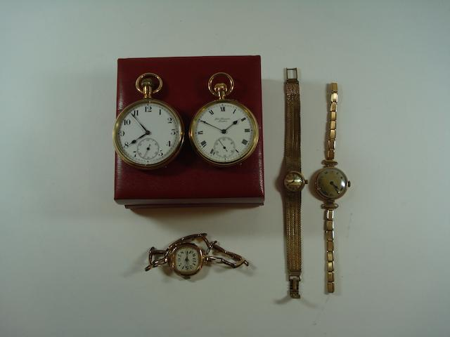 A collection of gold watches