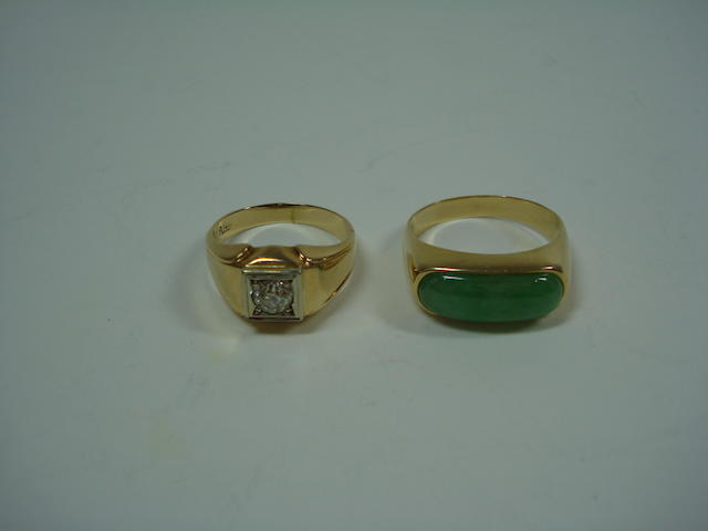 A diamond ring and a jade ring