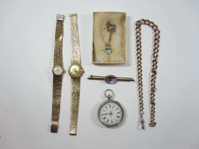 A collection of jewellery   Albert chain, 2 ladies wtaches, silver watch etc
