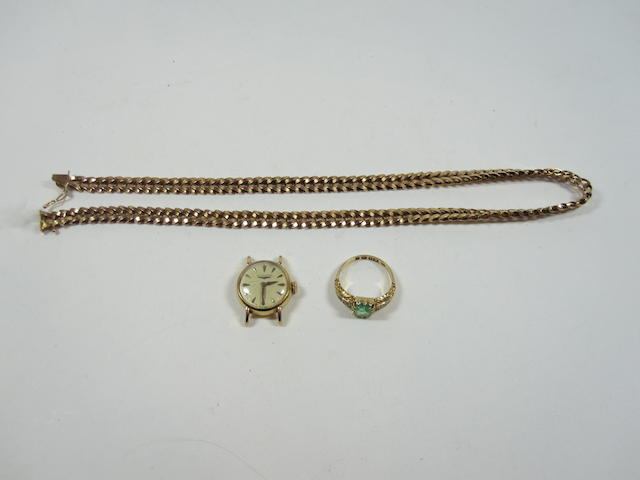 An 18ct necklace, emerald ring, longine ladies watch