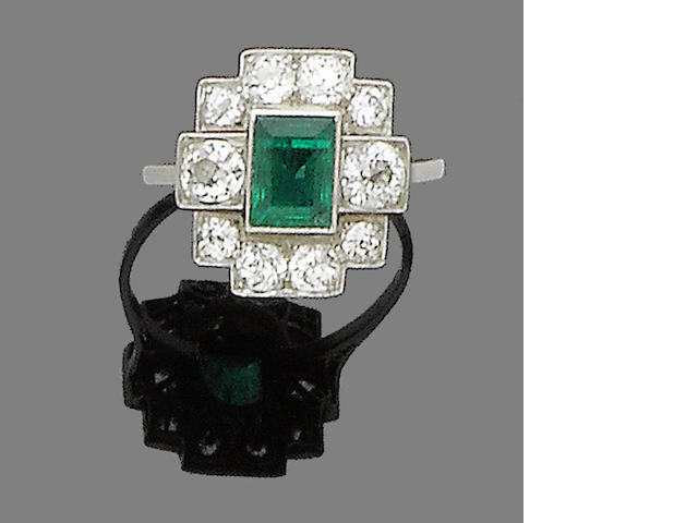 An art deco emerald and diamond dress ring,