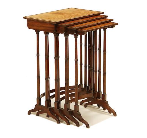 A set of late Victorian mahogany quartetto tables