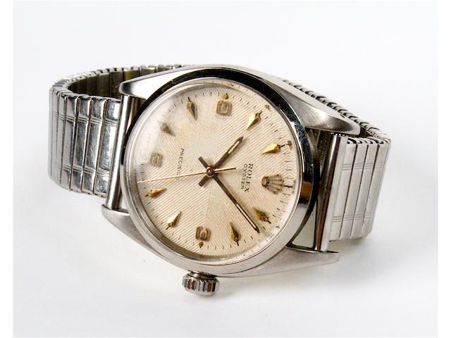 A circa 1950 Rolex Oyster precision steel gentleman's wristwatch