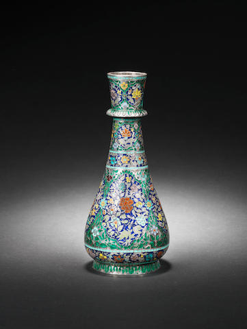 An enameled silver Huqqa Base  Lucknow, 18th Century