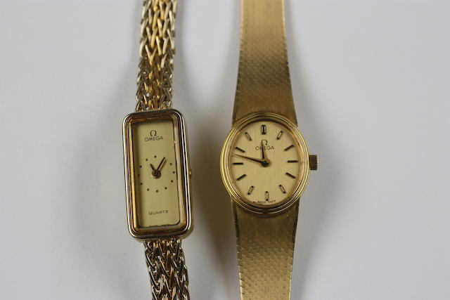 Omega: Two 18ct gold lady's wristwatches,