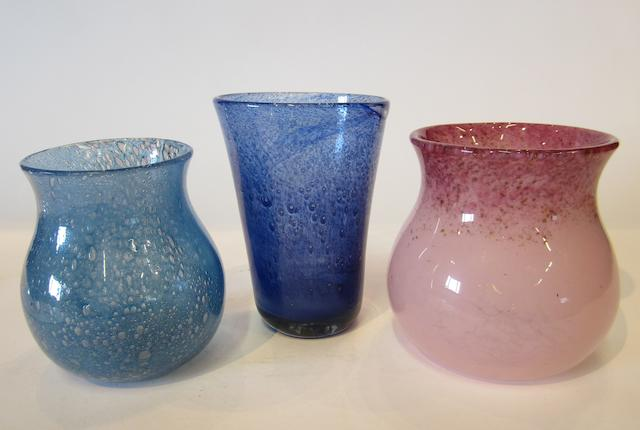 A collection of Monart and Nazeing glass vases