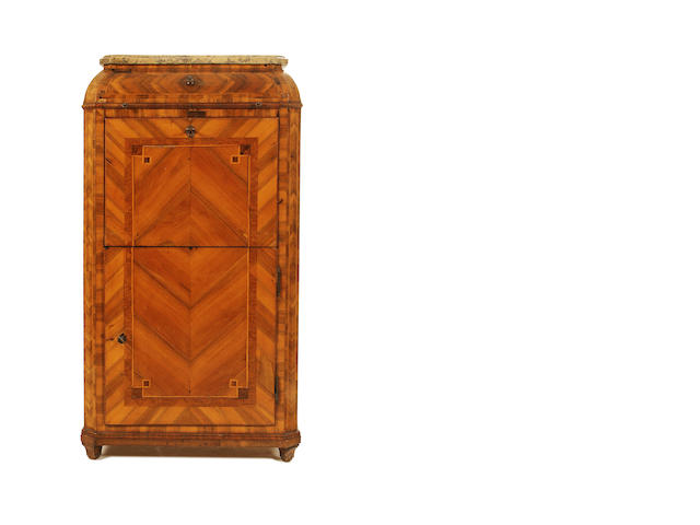 A French late 19th/early 20th century walnut and rosewood secretaire a abattant in the Louis XV/XVI transitional style
