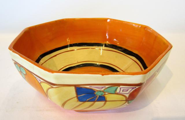 A Clarice Cliff 'Melons' pattern octagonal bowl  Circa 1930