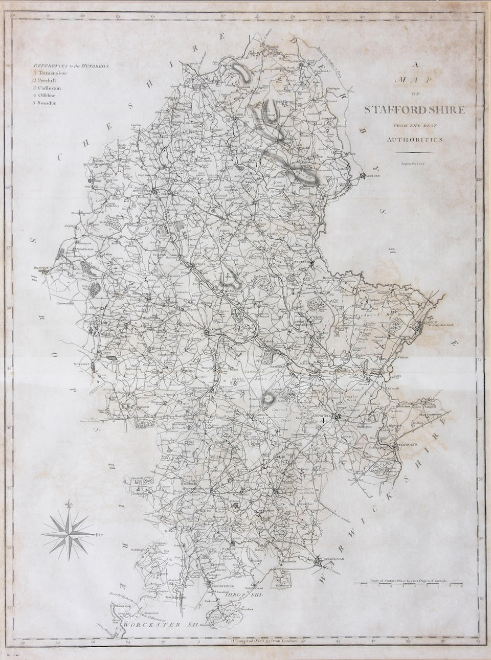 British Isles 36 x 46cm. also Cornwall and Staffordshire by Cary, and two maps of Northamptonshire by Greenwood & Co. and Teesdale