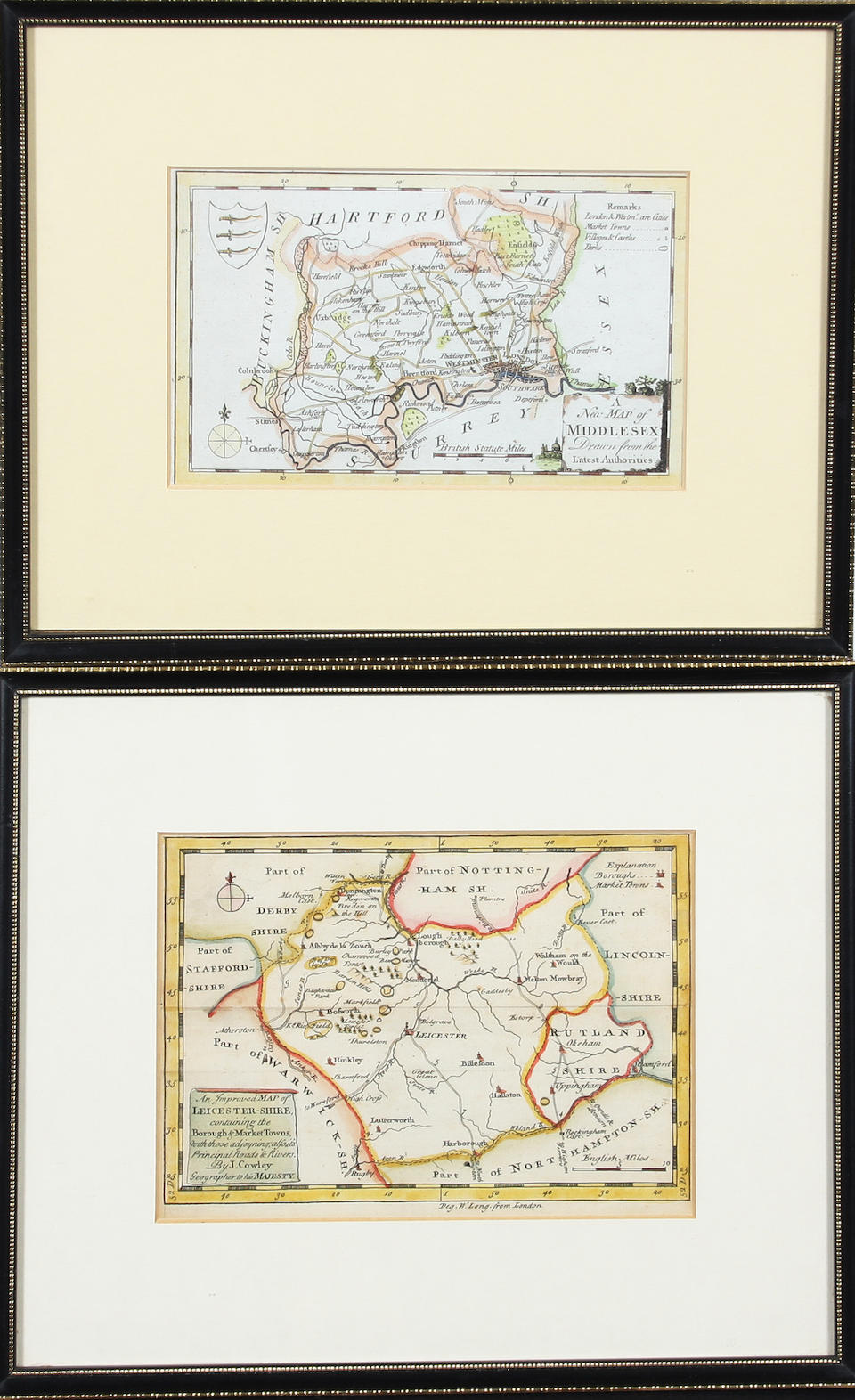Buckinghamshire 27 x 28.5cm. also L'Angleterre, L'Escosse and L'Irlande by Sanson and a further ten British county maps by Moll, Morden, Moule, Kitchin and others