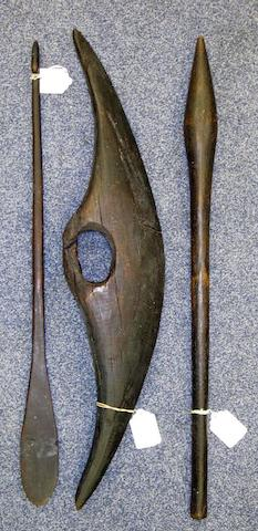 An Aboriginal parrying shield, club and spear thrower 3
