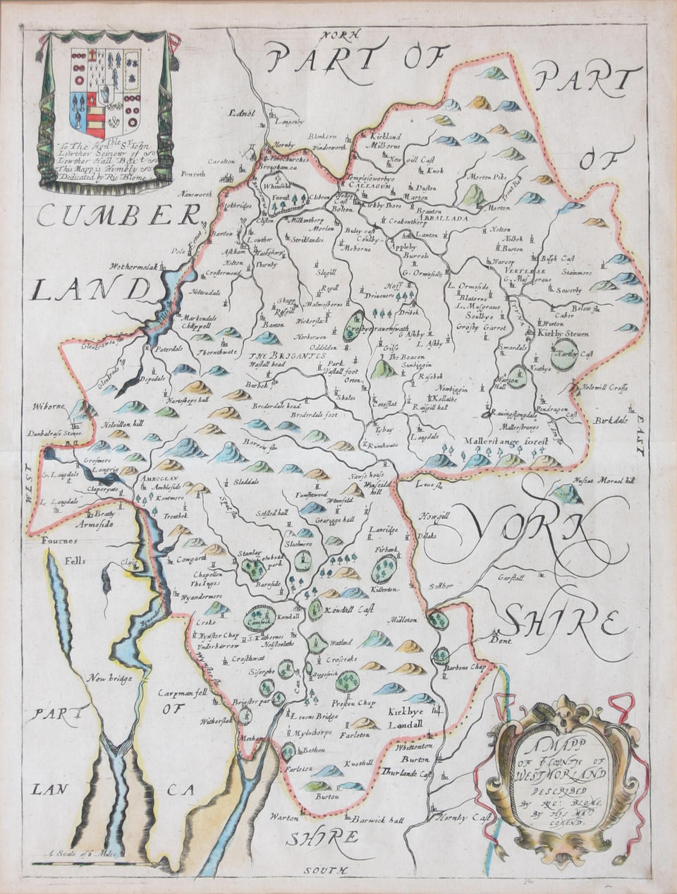Warwickshire 37 x 49.5cm. also Northumbria & Cumberland by H.Hondius and Westmorland by Blome