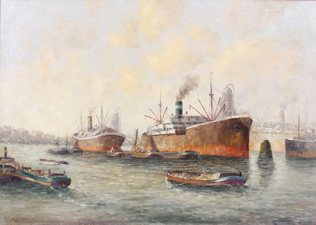 A** Broekman 20th Century) Busy shipping scene 60 x 90cm.