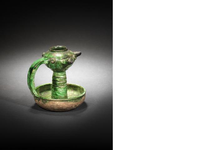 Umayyad green-glazed lamp