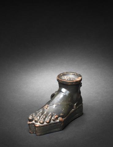 A Greek black glazed guttus