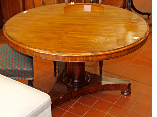 A Victorian mahogany circular tilt top breakfast table