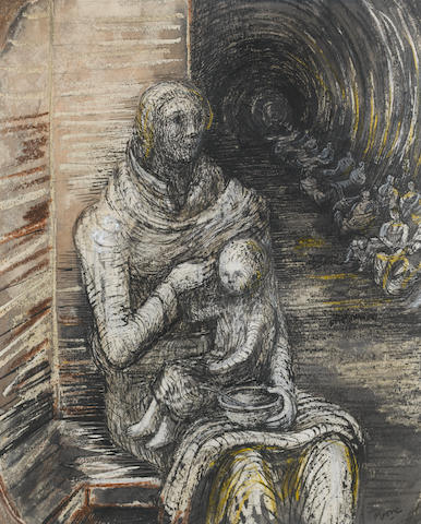 Henry Moore RA (British, 1831-1895) Seated Mother and Child 36 x 27.7 cm. (14 1/4 x 10 3/4 in.) Executed in 1941