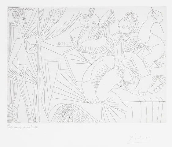 Pablo Picasso (Spanish, 1881-1973) Raphaël et la Fornarina XXII, from Séries 347 (B. 1797; Ba. 1814) Etching, 1968, on wove, signed and inscribed 'epreuve d'artiste' in pencil, an artist's proof aside from the edition of 50, published by Galerie L. Leiris, Paris, 1969, with wide margins, 148 x 209mm (5 3/4 x 8 1/4in)(PL)