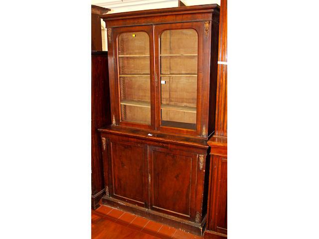 A Victorian walnut bookcase,