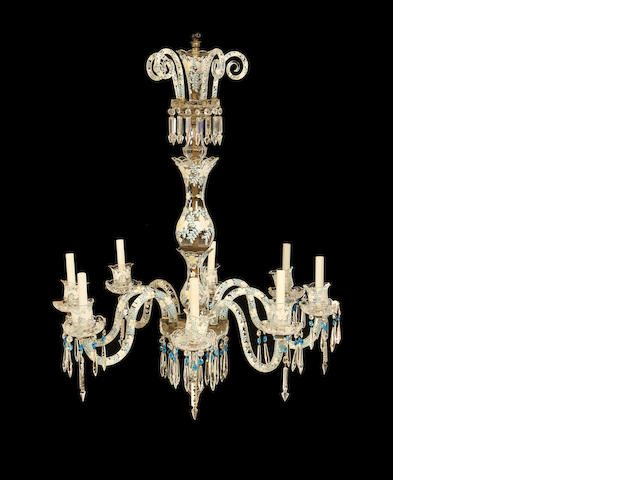 An eight light cut glass and painted chandelier