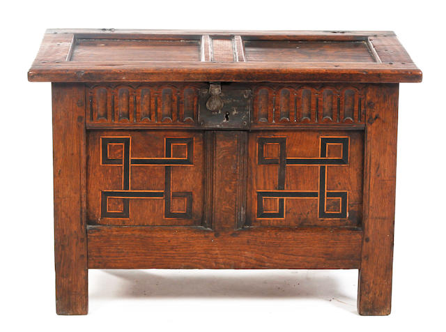 A Charles I and later small oak inlaid coffer