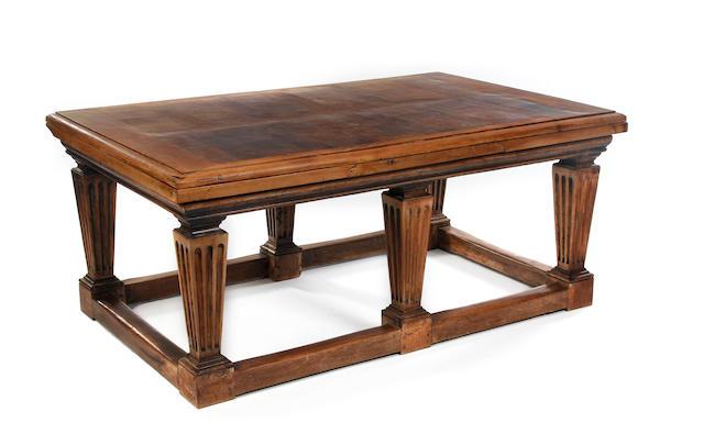 A 19th Century oak and walnut draw-leaf table
