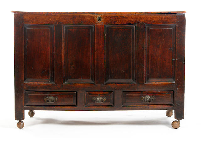 A George II  oak mule chestProbably Welsh