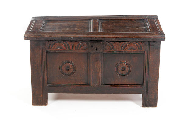 A small Charles II oak coffer