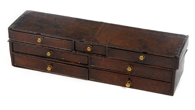 An oak table-top chest of drawers, adaptedMid-18th century