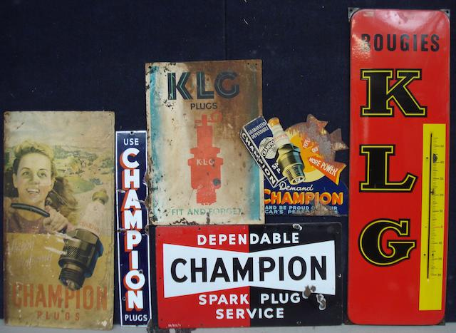 Assorted enamel and other signs for Champion and KLG spark plugs,