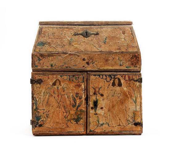 A rare Charles II embroidered needlework writing and sewing casket, circa 1670 Decorated with scenes from the biblical narrative of Samson and Delilah