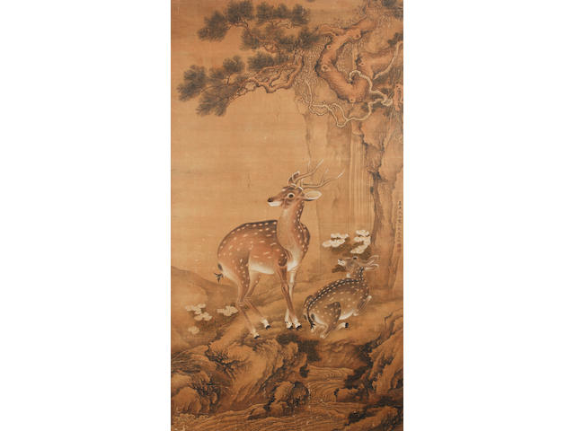 Chinese School: ink and colour on silk depicting a pair of deer. With single-line inscription and two red seals