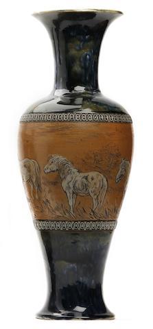 Lambeth A Doulton Lambeth Hannah Barlow vase, circa 1900
