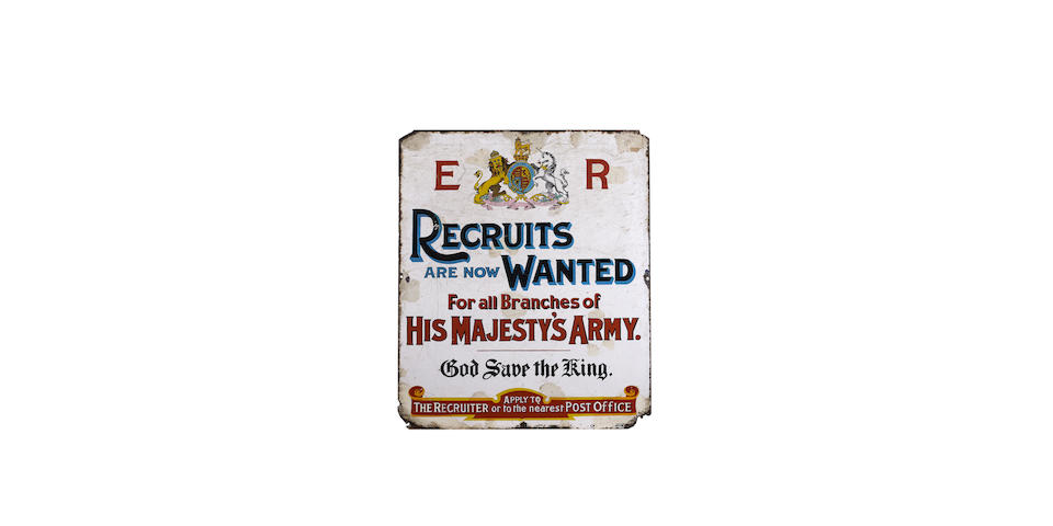 A rare early 20th Century 'Recruits are now Wanted For all Branches of His Majesty's Army.' enamel sign,