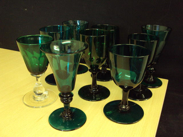 Nine various early 19th century green glass drinking glasses