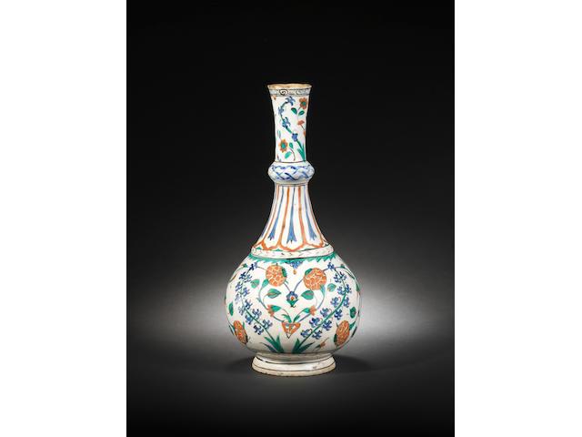 An important Iznik pottery Water Bottle (surahi) Turkey, circa 1575